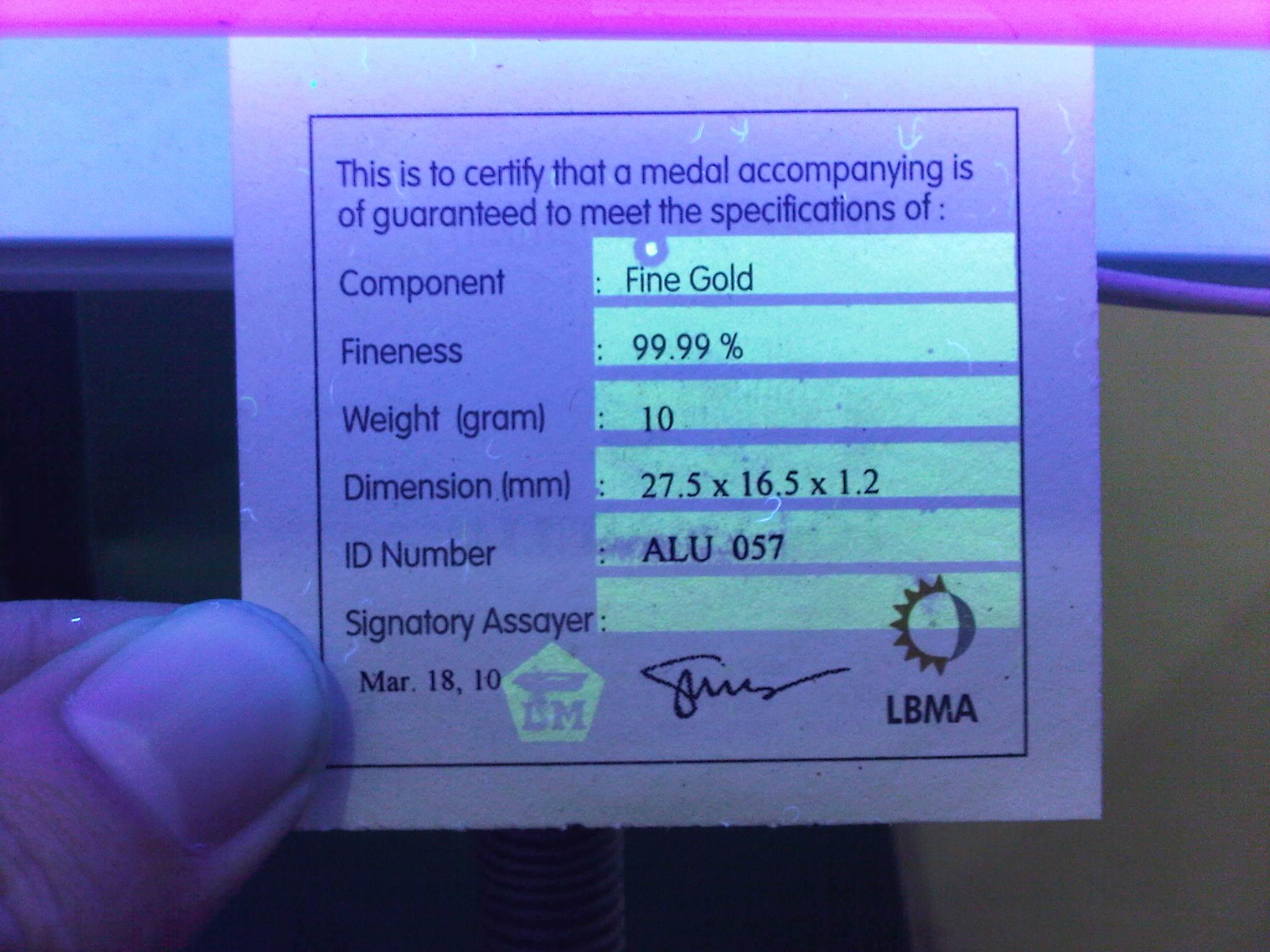 Sertifikat Antam di UV